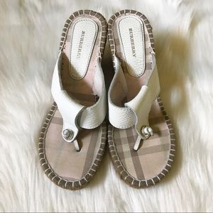 Burberry White Leather Wedges Sz 6